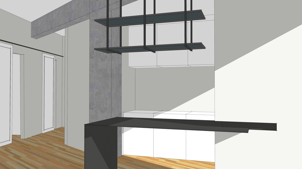 3d visualization of a kitchen counter